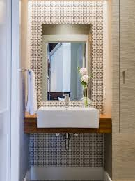 Powder Room Design Ideas Small Modern Powder Room Idea In Boston With A Vessel Sink Wood Countertops Multicolored