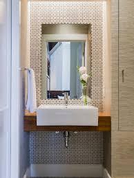 Powder Room Design Ideas small modern powder room idea in boston with a vessel sink wood countertops multicolored