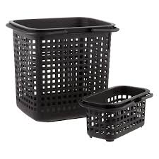 Black Cestino Stackable Storage Baskets with Handles ...