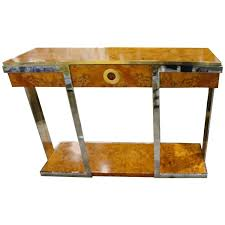 vintage console table. Pierre Cardin Burl Wood Vintage Console Table Brass Chrome Hollywood Regency For Sale At 1stdibs