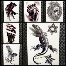 3d черная ящерица временные татуировки наклейки Gecko Lacertid