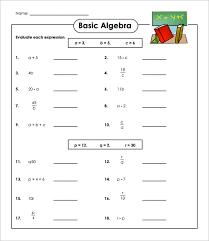 simple algebraic equations worksheets