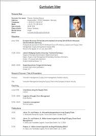 Tabular Cv Template Tabular Template Complete Resume Form With Medium Image