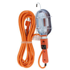 Bright Way 25 Ft Trouble Light With Metal Cage And Grounded Side Outlet For Indoor And Outdoor Use