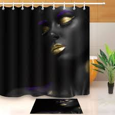 makeup gold lips african black girl shower curtain hooks bathroom mat water