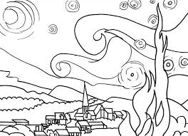 Small Picture Van Gogh the Starry Night in Famous Paintings Coloring Page
