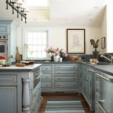 Simple Blue Painted Kitchen Cabinets Glazed E For Beautiful Design