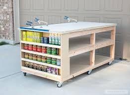 learn how to build a diy workbench with storage shelves and casters