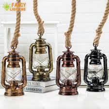 Vintage Kerosine Hanglampen Met Gratis Lamp E27 Hennep Touw