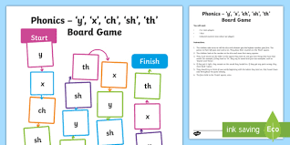 The letters of the words below are jumbled. Phonics Y X Ch Sh Th Board Game