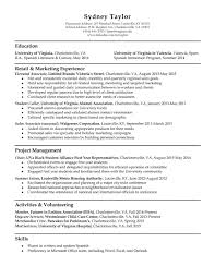 Sample Resume For Marketing Job Resume Samples UVA Career Center 99