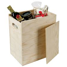 six bottle hamper sliding lid wooden box