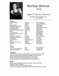 Actor Resume Template Word New Actor Resume Template Word Sarahepps