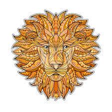Fototapeta Detailní Barevné Lev V Aztécké Stylu Vzorované Hlava Lva Na