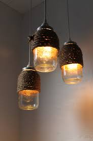 jar lighting fixtures. The Hive Mason Jar Pendant Lights, Set Of 3 Hanging Lighting Fixtures With Rope Wrapped Jars, Rustic BootsNGus Lamps \u0026 Home Decor D
