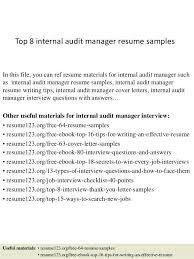 Audit Manager Resume Sample Top 8 Internal Audit Manager Resume