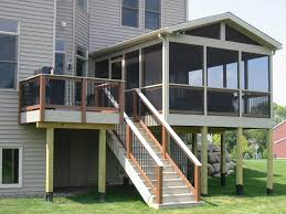 ... Beautiful House Decoration With Screened Decks Design Ideas : Exquisite  Exterior House Decoration With White Wood ...