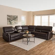 leather reclining sectional. Perfect Leather Baxton Studio Amaris 5Piece Dark Brown Leather Reclining Sectional On