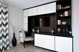 home office renovation inspiration for a mid sized contemporary study room remodel in san francisco with built office storage