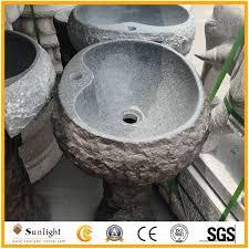 natural outdoor granite stone round garden wash basin pedestal sinks