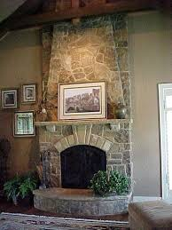 Stacked Stone Fireplace  Story Stacked Stone Fireplace With Built Fake Stone Fireplace