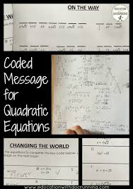 coded message activity changes up the way students practice solving quadratic equations using the square root