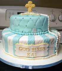 Blue White And Gold Baptism Cake Cakecentralcom