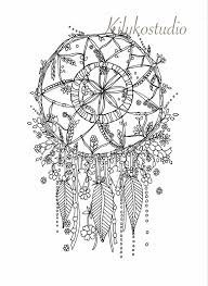 Dream Catcher Botanicals Dream catcher botanical wildflower adult coloring page instant 2