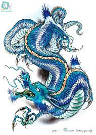 Rocooart Lc2817 21 15 см 3d большой большой татуировки наклейки эскиз синий китайский