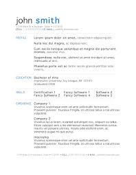 Resume Templates In Microsoft Word Simple Free Templates For Resumes On Microsoft Word Commily