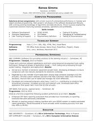 Sql Resume Example Sample Resume for a Midlevel Computer Programmer Monster 43