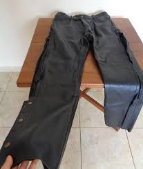 a photograph showing the xelement leather overpants from our detailed motorcycle gear review in which we