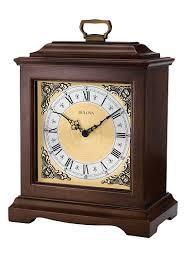 bulova chiming mantel clock brown