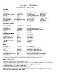 Specialls Resume List Of For Acting Resumes Cv Computer Examples