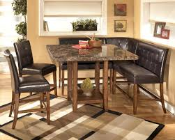 l agreeable design of small home bar ideas with modular brown granite top square height table and black genuine leather corner bench plus two armless agreeable home bar design