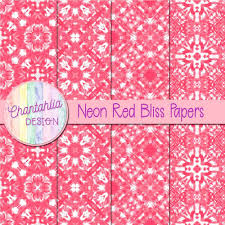 Red Bliss Design Neon Red Bliss Papers Chantahlia Design