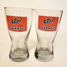 retro orange 8 oz drinking glasses set of 2 libbey