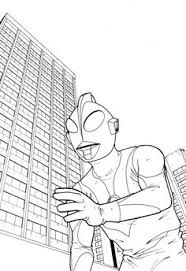 ultraman tiga with building scenery coloring page