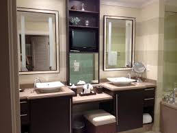 Alluring Bathroom Vanity Ideas Come With Double White Sink Also Side Storage  Makeup Two Square Wall Mounted Mirror And Built In Shelves