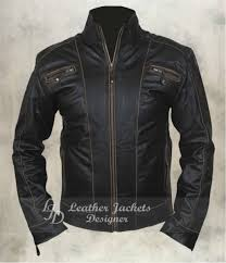 mens black rivet antique motorcycle style casual fitted leather jacket front view