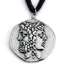 sterling silver replica janiform head of zeus and hera greek