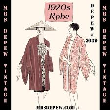 Kimono Robe Pattern Cool Vintage Sewing Pattern Instructions 48s Flapper Easy Kimono