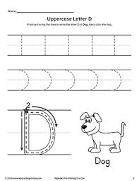 Writing Practice Worksheet Uppercase Letter D Pre Writing Practice Worksheet