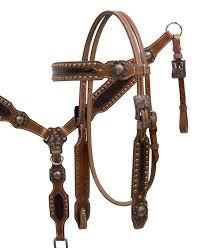 showman double stiched leather headstall and t collar with alligator print and copper hardware this headstall and t collar set features double