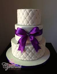 41 best Wedding Cakes images on Pinterest | Golden wedding ... & White and Purple Wedding Cake ... All fondant cakes - Quilted pattern - Silk Adamdwight.com