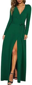 KILIG <b>Women's</b> Dress <b>Sexy</b> Deep V-Neck <b>Long</b> Sleeve Split <b>Long</b> ...