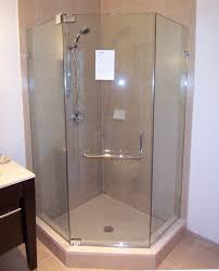 awesome neo angle shower ideas with glass shower door also vanity cabinets