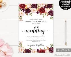 Burgundy Wedding Invitation Set Printable Floral Marsala Invite