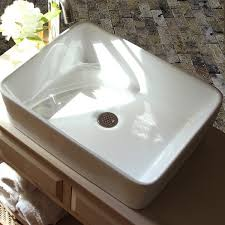 highpoint collection 19 inch white rectangular bathroom vessel sink without overflow