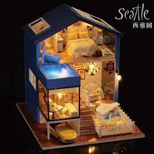 aliexpress com diy wooden doll house miniatura 3d model kits dollhouses miniature toys house seattle diy large dollhouse from reliable kit dollhouse